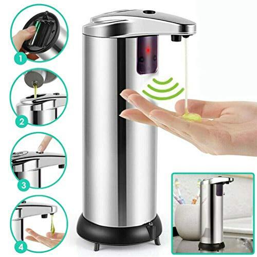 FullBerg 280ml Seifenspender Sensor Infrarot Automatischer Shampoospender Spender Edelstahl Geeignet für Krankenhaus, Badezimmer, Küchen, Hotels und Restaurants