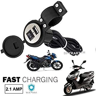 Spykart Universal Mobile Mount USB Charger Socket 2.1A for Bike/Scooty/Motorbike and GPS (Black)