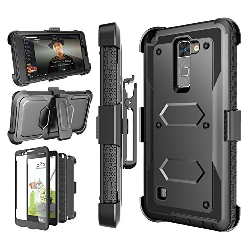 Njjex for LG Stylo 2/ 2V Case, for LG Stylo 2 Plus Case, [Nbeck] Heavy Duty Built-in Screen Protector Rugged Holster Locking Belt Clip Kickstand Cover Shell for LG Stylus 2/Stylus 2 Plus [Black]