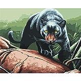 Panthère Noire Chasse Animal Bricolage Peinture numérique Art Toile Cadeau Unique décoration de la Maison 40X50 cm sans Cadre