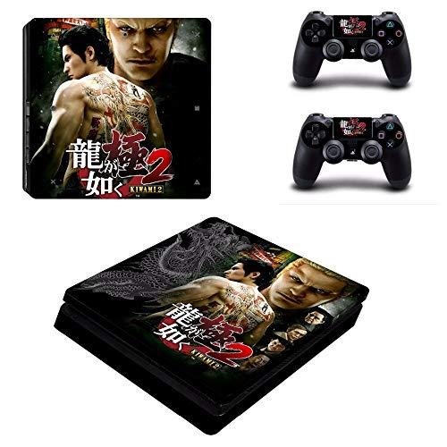 FENGLING Juego Yakuza Kiwami 2 Ps4 Slim Skin Sticker para Sony Playstation 4 Console y 2 Controladores Ps4 Slim Skins Sticker Decal Vinyl