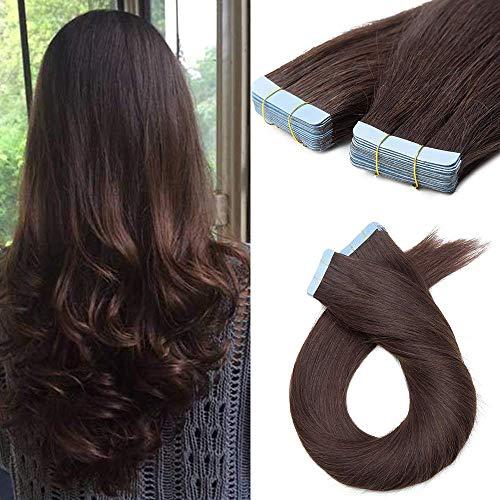 60cm Extension Biadesive Capelli Veri Adesivo Tape in Remy Human Hair 10 PCS 2.5g/Fascia Riutilizzabili Invisibili Lisci Lunghi Donna Bellezza, 2# Marrone Scuro