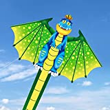 Tcvents Large Dinosaur Kites for Children Easy to Fly with Colorful long Tail, Huge Kite for Kids Adults Outdoor Game,Activities,Beach Trip