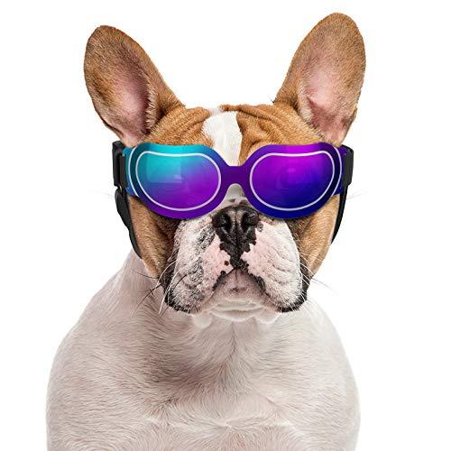Pawaboo Gafas Reflectantes para Perros, Gafas de Sol con Arnés Ajustable, Impermeable Protector Ocular Protección UV Antivaho, Protección de Ojos para Perros Pequeños - Azul