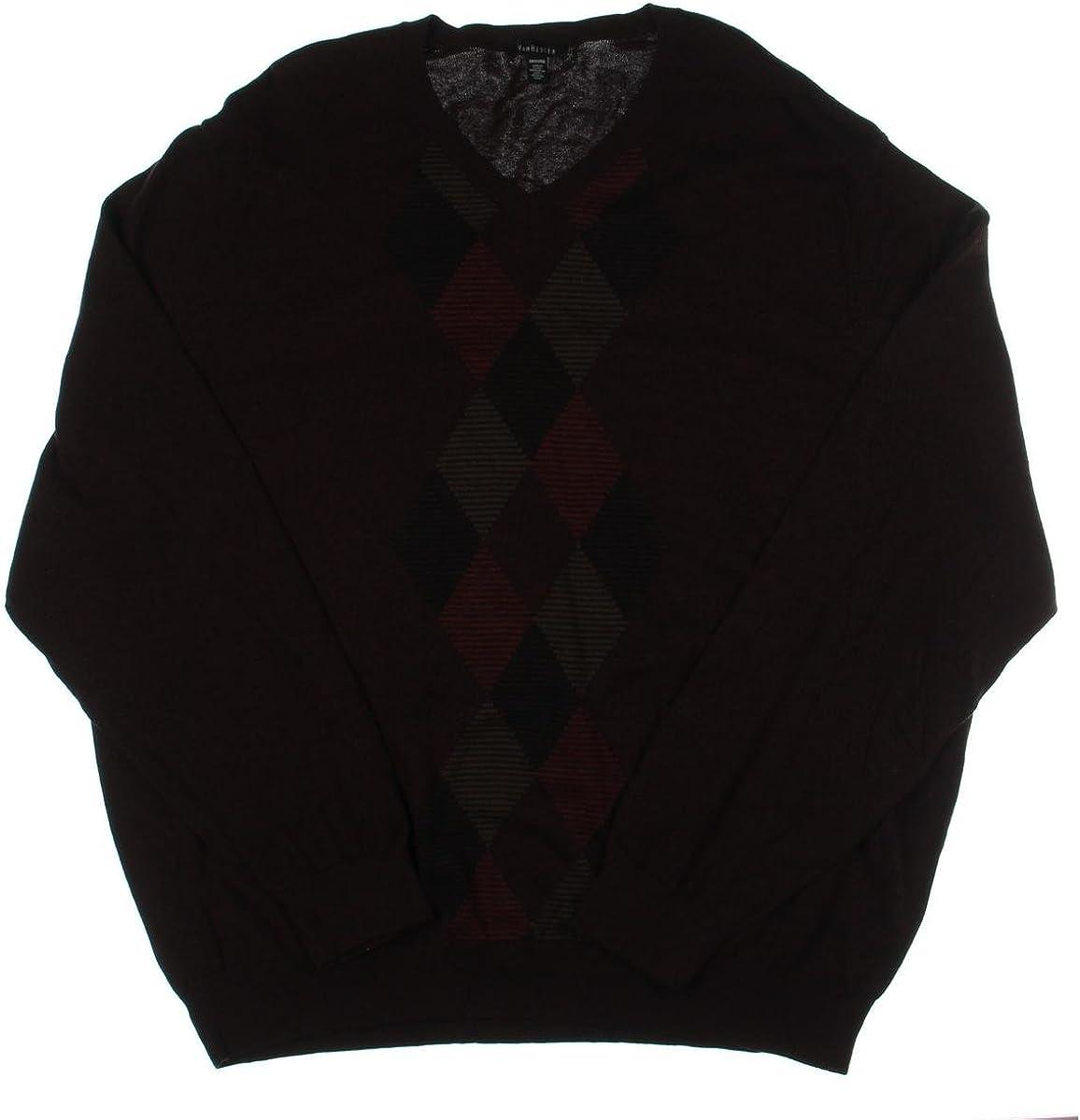 Van Heusen Mens Feeder-Stripe Diamond V Neck Pullover Sweater, Red, 2XLT