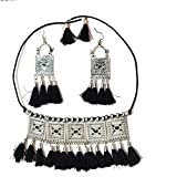 MORZE Oxidised Silver Plated Floral Stone Studded Afghani Necklace Set for Women