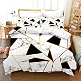 MUSOLEI 3D Bedding Duvet Cover Sets 3 Piece Set,Spliced Mixed Black White Marble 3 Piece Bedding Set with Pillowcase Ultra Soft Microfiber(Black White,Queen)