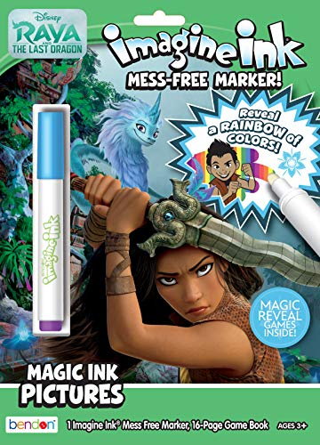 Disney Raya The Last Dragon 16-Page Imagine Ink Coloring Book with Mess Free Marker Bendon 48605