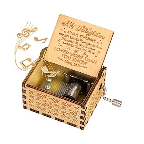 Caja de Música de Manivela de Madera Caja Musical Tallada a Mano del Tema Retro Mejor Regalo para Niños, Papá a Hija