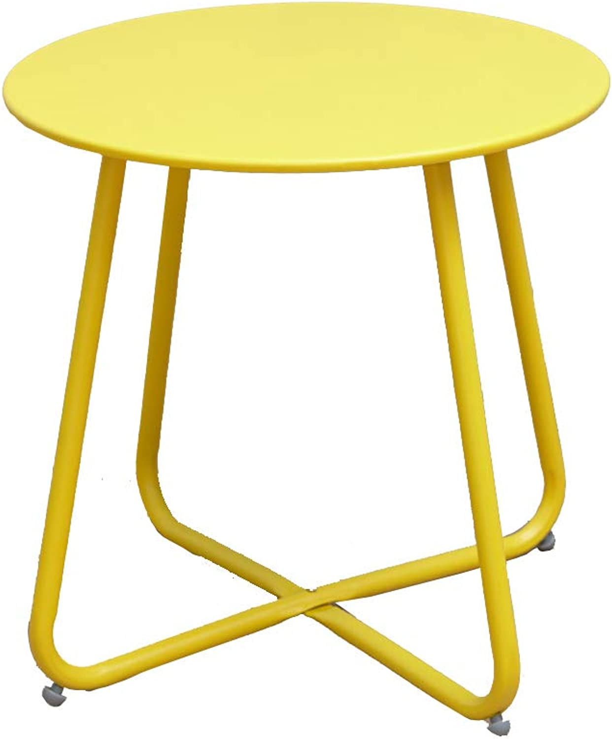 Small Coffee Table Simple Side Table Bedroom Small Round Table Wrought Iron Multifunctional Sofa Table 5 colors (color   Yellow)