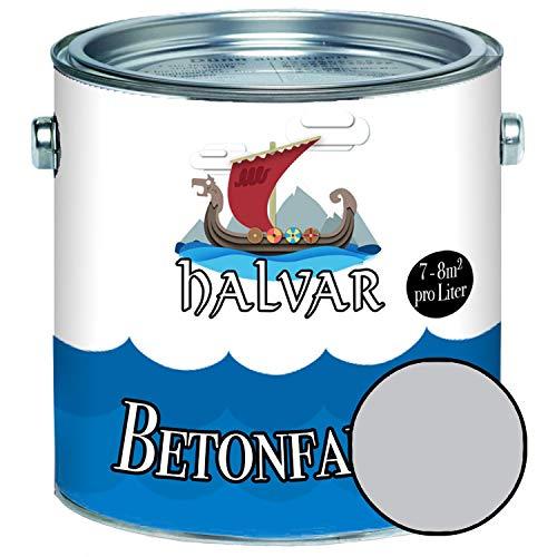 Halvar Betonfarbe/Bodenbeschichtung SEIDENMATT Grau RAL 7000-7047 Fassadenfarbe (1 L, RAL 7035 Lichtgrau)
