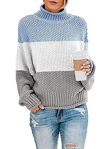 Yidarton Pullover Damen Elegant Winter Rollkragenpullover Strickpullover Grobstrickpullover Casual Lose Pulli Langarm Oberteile (3262-Blau, Medium)