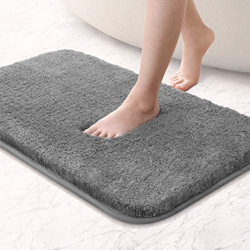 VANZAVANZU Bathroom Rugs 20x32 Ultra Soft Absorbent Non Slip Fluffy Thick Microfiber Cozy Grey Bath Mat for Tub Shower Bathroom Floors Accessories (Dark Gray)