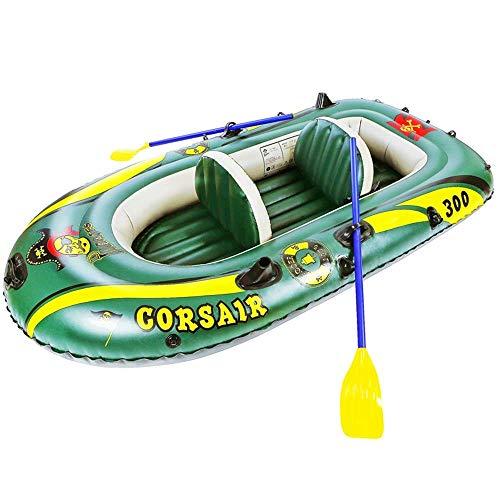 Challenger Kayak Gonfiabile Outdoor Canoa Confortevole Kayaking Tempo Libero Barca Pieghevole 1-2 Persone Gommone Sport Marino Pesca Avventura Spessa PVC Resistente All'Usura Plastica 198 * 118Cm Verd