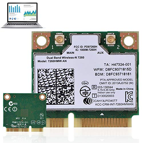 Oumij Bluetooth 4.0 Dual Band Wireless WiFi Card IEEE Standard Based 802.11a/b/g/n Adapter Supported Operating Systems: Win7, Win8, Win10, Linux Intel 7260AN 7260HMW Mini PCI-E