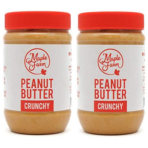 MapleFarm - Erdnussbutter Natürliche Ohne Zusätze. 1 Kg (2x500g) - Erdnussmus Ohne Salz, Zucker, Palmfett - chunky flavour - protein creme - PURE PEANUT BUTTER - CRUNCHY