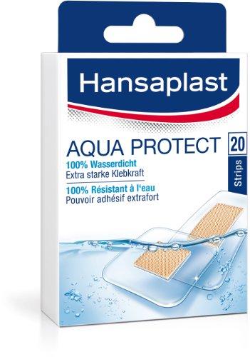 Hansaplast Aqua Protect wasserdichte Pflaster, Wundpflaster mit extra starker Klebkraft, Heftpflaster ideal zum Duschen und Schwimmen, 1 x 20 Strips
