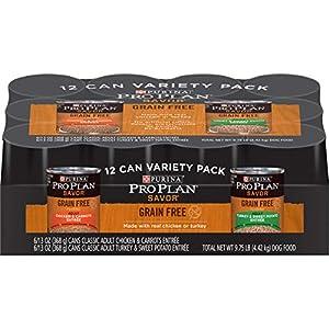Purina Pro Plan Grain Free Pate Wet Dog Food Variety Pack, SAVOR Grain Free Chicken & Turkey – (12) 13 oz. Cans