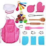 25Pcs Chef Set for Kids, Kitchen Cooking and Baking Kits, Dress Up Role Play Toys, Apron, Chef Hat, Oven Mitt,...