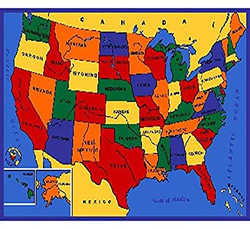 SINTECHNO Kids USA Map Children Area Rug, 5' x 7'
