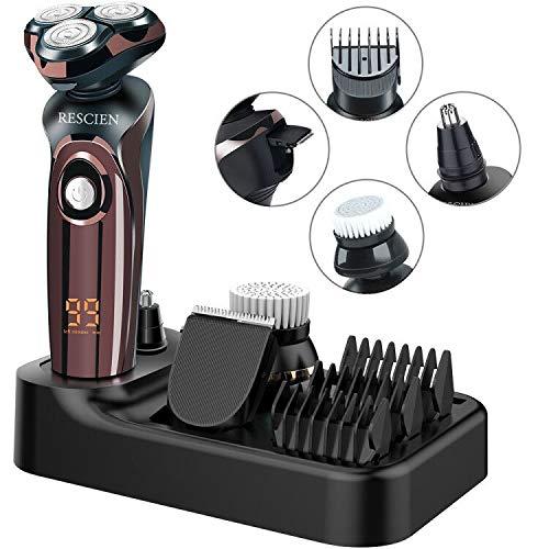 Rasierer Herren Elektrisch 4D Elektrorasierer Rasierapparat Nass-und Trockenrasiererr IPX7 Wasserdicht, LED-Display Bartschneider Präzisionstrimmer 4 IN 1 Rotationsrasierer Männer USB-Aufladung