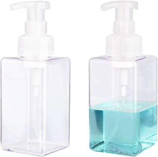 UUJOLY Foaming Soap Dispenser, 450ml (15oz) Refillable Pump Bottle for Liquid Soap, Shampoo, Body Wash (2 Pcs) (Clear)