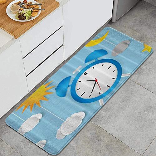 JOSENI Anti-Müdigkeit Küche Bodenmatte,Tag Nacht Konzept Uhr Zifferblatt Blauer Himmel Wolken Sonne...