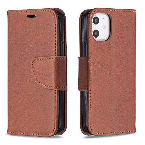 Happy-L Funda para iPhone 12 Mini 5.4 pulgadas, estilo retro y duradero, de piel sintética, con ranuras para tarjetas y soporte para iPhone 12 Mini 5.4 pulgadas 2020 (color: marrón)