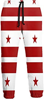 Flag of The District of Columbia Men's Sweatpants Comfy Jogger Pants with Pockets Lightweight Athletic Pant
