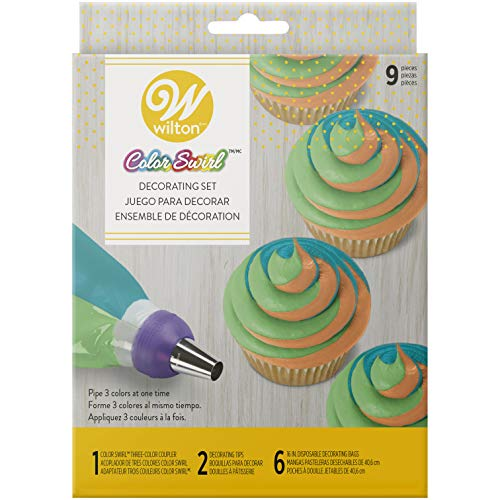 Colour Swirl Piping Set, 3-Colour Piping Bag Coupler, 9 Piece Cake Decorating Kit
