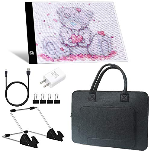 A4 LED Light Pad with USB Cable, USB Wall Charger, Stand Holder, Polyester Felt Hand Held Case Bag and Black Pad Clip for DIY Art Craft Diamond Painting Sketching