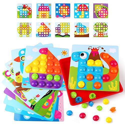 AMOSTING Mosaicos Infantiles, Juguetes Montessori de Colores Mosaico Niños Juegos Educativos para Niños, Juego Preescolar a Partir de 3 4 5 Años, 10 Cartas y 46 Botones