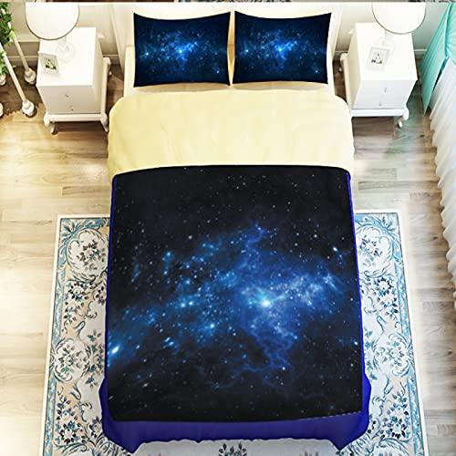 Hermosa Funda Nórdica Galaxy Elegante Aurora 3D Star La Funda De Edredón Se Puede Usar En El Dormitorio del Hogar con Diseño Anticaída En Las Esquinas Juego De Cama De 3 Piezas con Cremallera