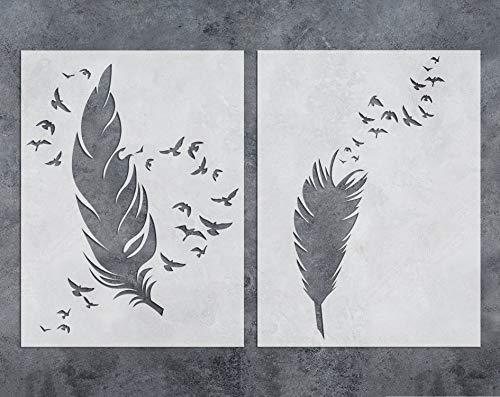 GSS Designs Schablone für Wandkunst, Federn, wiederverwendbar, 30,5 x 40,6 cm, 2 Stück