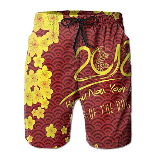 ZMYGH Men's Sports Beach Shorts Board Shorts,Squama Pattern Blooming Flowers Oriental Geometric Elements,Surfing Swimming Trunks Bathing Suits Swimwear