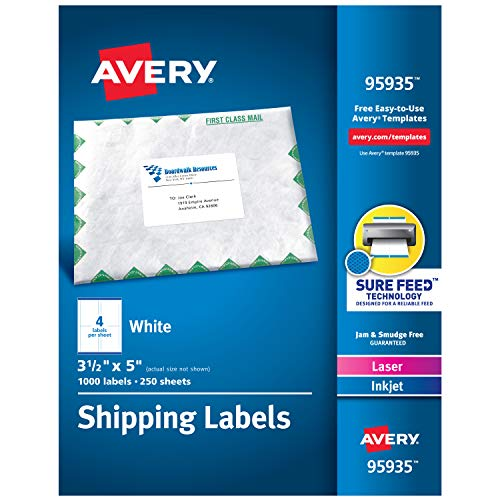 Avery Shipping Address Labels, Laser & Inkjet Printers, 1,000 Labels, 3-1/2 x 5, Permanent Adhesive (95935) , White