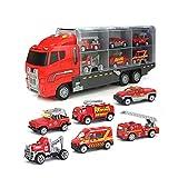 Eternitry Auto Transporter Toy Carrier Legierung Loading Truck Große Container Garage Trucks Mit Licht Musik Feuertechnik Set Spielzeug Für Kinder Kleinkind -