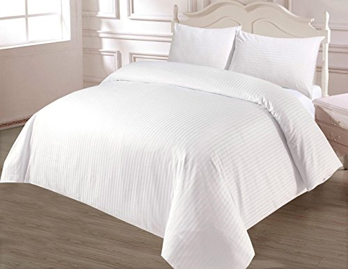     JaaZ Textile     _Hotel Style_White_ 500 Thread Count 100% Egyptian Cotton Satin Stripes Duvet Cover Sets. (King)