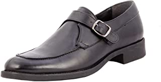 Salt N Pepper Mixe Black Leather Men Slip On Formal Shoes