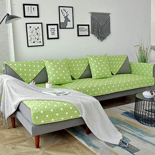YUTJK Housse de Canapé d'angle avec Accoudoirs Housse de Canapé Modèle L Canapé Protecteur Évolutif,Couverture de canapé d'impression en Tissu de Salon-Vert 1_90×90cm