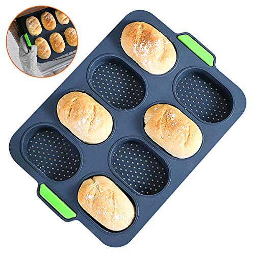 Mini Baguette Baking Tray, Silicone Bread Loaf Baking Tray Mold Non Stick Perforated Pan Bread Crisping Tray Loaf Baking Mould French Bread Stick Bread Roll Pan (Tray)