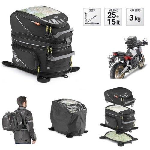 Givi ea103b Sac à dos de réservoir pour moto avec aimants et sangles 25 + 15lt universel pour piaggio