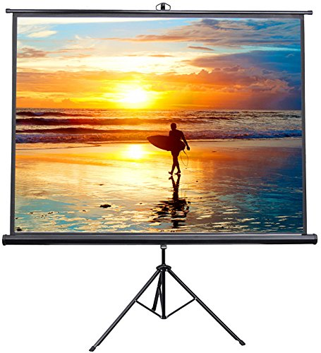 VIVO 100 inch Portable Indoor Outdoor Projector Screen, 100 Inch Diagonal Projection HD 4:3 Projection Pull Up Foldable Stand Tripod (PS-T-100)
