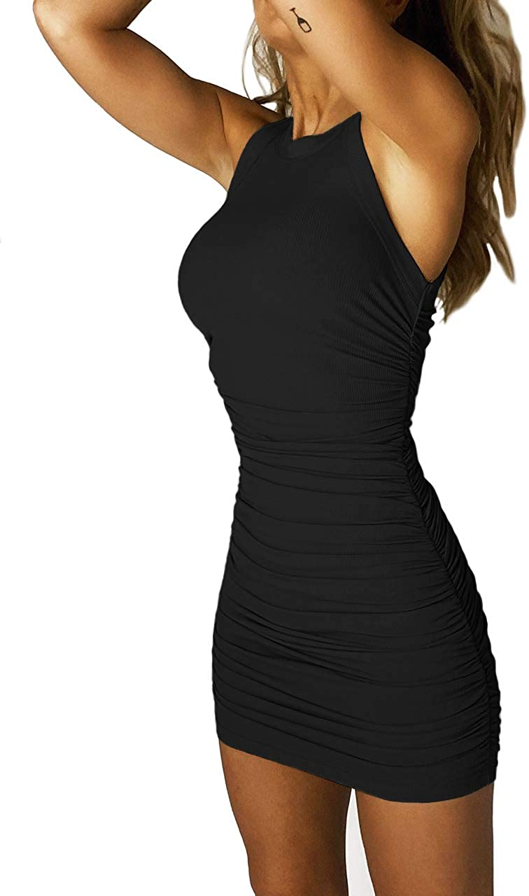 MiiVoo Women's Sleeveless/One Shoulder Side Ruched Stretchy Bodycon Party Club Mini Tank Dresses