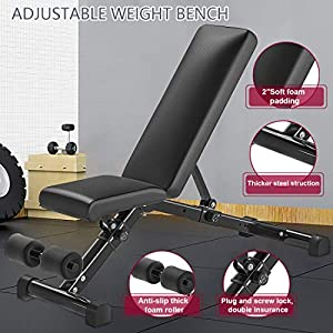 MANERSON Adjustable Weight Bench Full Body Workout Foldable Incline Decline Exercise Bench for Home Gym Weightlifting and Strength Training