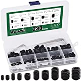 Keadic 236Pcs 1/8 to 3/8 inch Internal Hex Drive Cup-Point Screws Grub Screws Assortment Kit with 6Pcs Wrench, 10 Sizes Set of Screws for Door Handles, Faucet, Light Fixture, 12.9 Class Alloy Steel