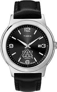 Timex Men's Auburn University Tigers Watch Black Leather Band Ace