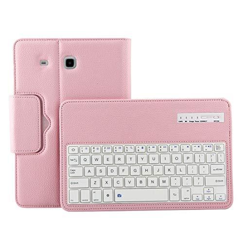 MOYOFEE JYMD ACDD para la pestaña Galaxy E 9.6 / T560 2 en 1 Funda de Cuero de la Textura de Litchi de la Textura del Teclado de Bluetooth Desmontable con el Titular (Negro) (Color : Pink)