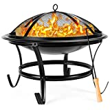 Best Choice Products 22-inch Outdoor Patio Steel Fire Pit Bowl BBQ Grill for Backyard, Camping, Picnic, Bonfire, Garden w/Spark Screen Cover, Log Grate, Poker