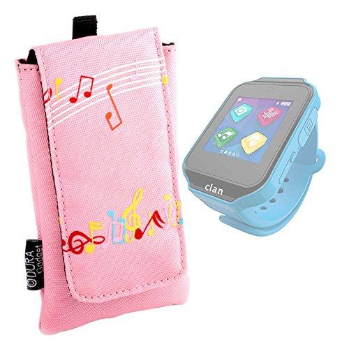 DURAGADGET Funda Acolchada Rosa para Reloj de niño CEFATRONIC - Smartwatch Clan (105) - Diseño con Notas Musicales - ¡Resistente Al Agua